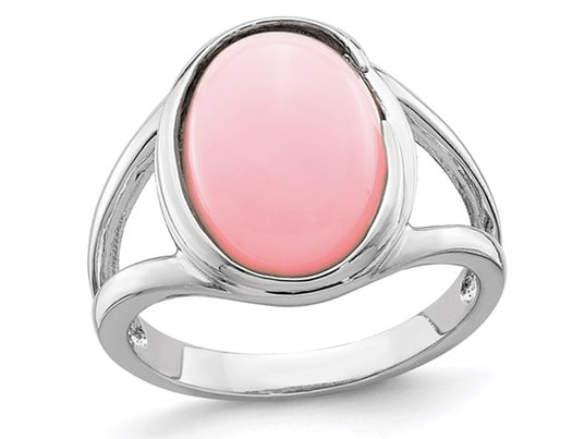 3/5 Carat (ctw) Natural Pink Opal Ring in Sterling Silver