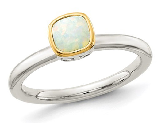 1/4 Carat (ctw) Natural Opal Ring in Sterling Silver with 14K Accent