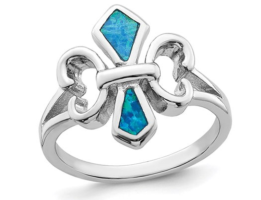 Fleur De Lys Lab Created Blue Opal Inlay Ring in Sterling Silver