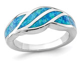 Lab Created Blue Opal Inlay Wave Ring in Sterling Silver