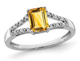 7/8 Carat (ctw) Citrine Ring in 14K White Gold with Diamonds