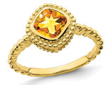 10K Yellow Gold 7/8 Carat (ctw) Cushion Cut Citrine Ring