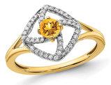 1/9 Carat (ctw) Citrine Ring in 14K Yellow Gold with Diamonds 1/7 Carat (ctw)