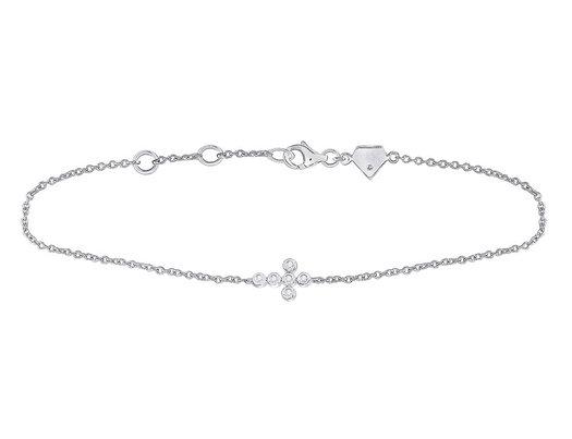 1/20 Carat (ctw G-H, I2-I3) Accent Diamond Cross Bracelet in Sterling Silver