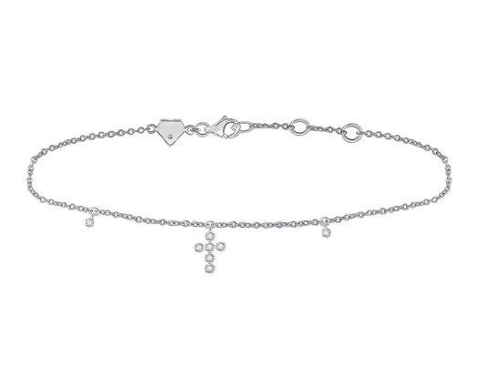 1/10 Carat (ctw G-H, I2-I3) Accent Diamond Cross Bracelet in Sterling Silver