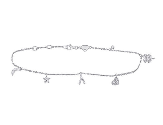1/5 Carat (ctw G-H, I2-I3) Accent Diamond Lucky Charm Bracelet in Sterling Silver
