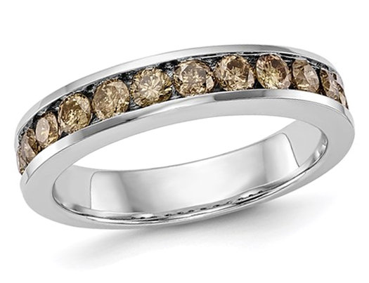 7/10 Carat (ctw Clarity I1-I2) Champagne Brown Diamond Wedding Band Ring in 14K White Gold