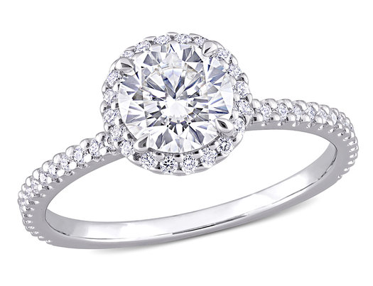 1.25 Carat (ctw) Lab-Created Round-Cut Moissanite Halo Engagement Ring in Sterling Silver