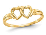 14K Yellow Gold High Polished Heart Promise Ring