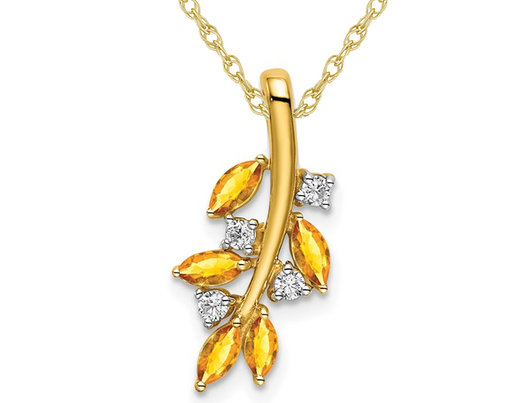 7/10 Carat (ctw) Citrine Leaf Branch Charm Pendant Necklace in 14K Yellow Gold with Diamonds and Chain