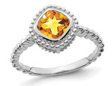 14K White Gold 7/8 Carat (ctw) Cushion Cut Citrine Ring