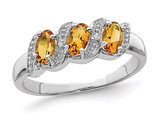 1/2 Carat Three Stone Citrine Ring in Sterling Silver