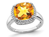 5.40 Carat (ctw) Large Cushion-Cut Citrine Ring in 14K White Gold with Diamonds