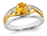 4/5 Carat (ctw) Citrine Ring in 14K White and Yellow Gold