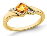 1/2 Carat (ctw) Cushion-Cut Citrine Ring in 10K Yellow Gold