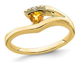 1/4 Carat (ctw) Solitaire Trillion Citrine Ring in 10K Yellow Gold