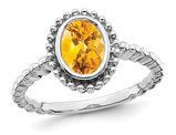 10K White Gold 1.00 Carat (ctw) Bezel-Set Citrine Ring