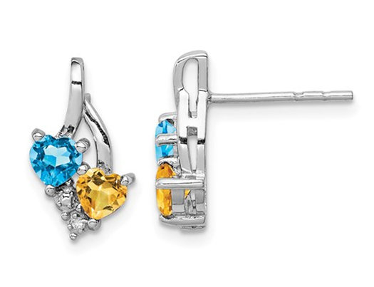 1.00 Carat (ctw) Blue Topaz and Citrine Drop Heart Earrings in Sterling Silver