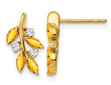 1/3 Carat (ctw) Citrine Vine Leaf Earrings in 14K Yellow Gold with Diamonds