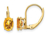 1.60 Carat (ctw) Natural Oval Citrine Leverback Earrings in 14K Yellow Gold