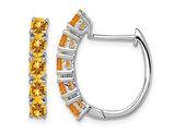 2.20 Carat (ctw) Natural Citrine Hoop Earrings in Sterling Silver