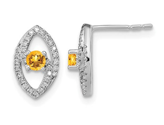 1/5 Carat (ctw) Citrine Drop Earrings in 14K White Gold with Diamonds