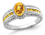 1.35 Carat (ctw) Citrine Ring in Sterling Silver with White Topaz