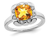 14K White Gold 2.38 Carat (ctw) Cushion-Cut Citrine Ring with Diamonds