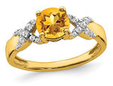 1.00 Carat (ctw) Citrine Ring in 14K Yellow Gold with Diamonds