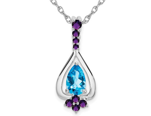 1.05 Carat (ctw) Blue Topaz & Amethyst Pendant Necklace in 14K White Gold with Chain