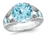 Large 7.40 Carat (ctw) Swiss Blue Topaz Ring in Sterling Silver