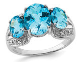 5.40 Carat (ctw) Blue Topaz Three Stone Ring in Sterling Silver