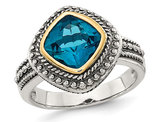 3.00 Carat (ctw) London Blue Topaz Ring in Sterling Silver with 14K Gold Accent