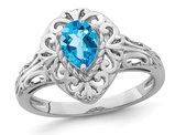 2/3 Carat (ctw) Blue Topaz Teardrop Ring in Sterling Silver