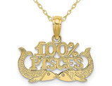 10K Yellow Gold 100% PISCES Charm Astrology Pendant Necklace with Chain
