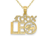 10K Yellow Gold 100% LEO Charm Astrology Pendant Necklace with Chain