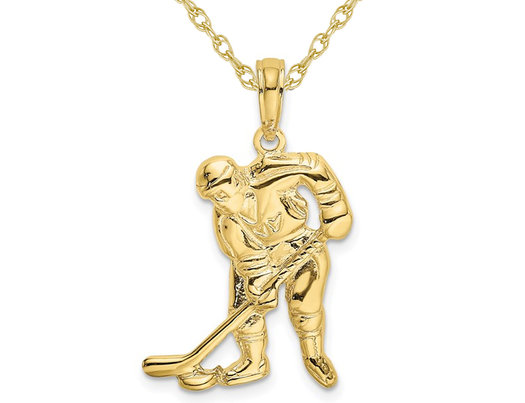 10K Yellow Gold Hockey Player with Stick & Puck Charm Pendant Necklace with Chain