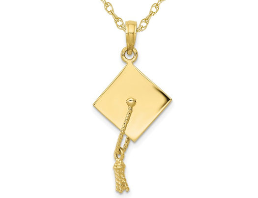 Graduation Cap Charm Pendant Necklace in 10K Yellow Gold with Chain