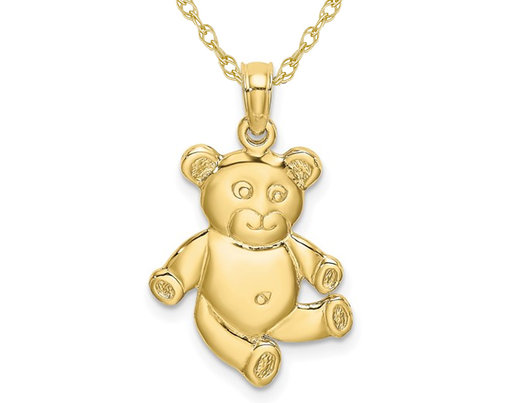 10K Yellow Gold Reversible Teddy Bear Charm Pendant Necklace with Chain