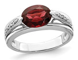 1.89 Carat (ctw) Garnet Ring in Sterling Silver with Accent Diamonds