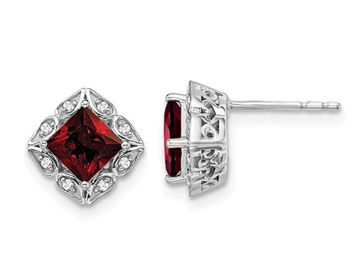 1.60 Carat (ctw) Garnet  14K White Gold Sqiuare Post Earrings with Diamonds