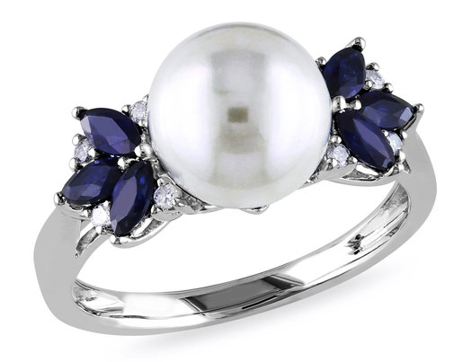 9-9.5mm White Freshwater Cultured Pear with Sapphires Ring In 10K White Gold