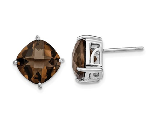 7.25 Carat (ctw) Solitaire Smokey Quartz Earrings in Sterling Silver