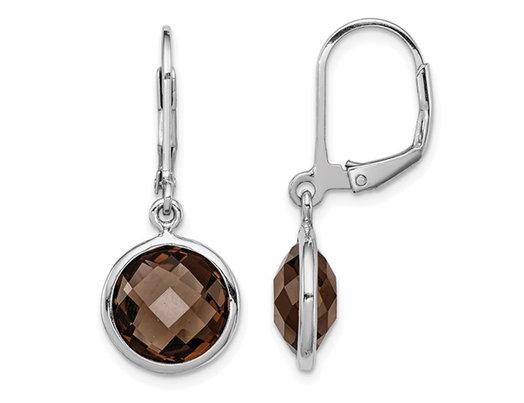 6.00 Carat (ctw) Smokey Quartz Dangle Earrings in Sterling Silver