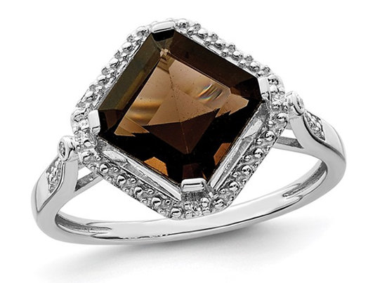 1.60 Carat (ctw) Princess-Cut Smokey Quartz Ring in Sterling Silver