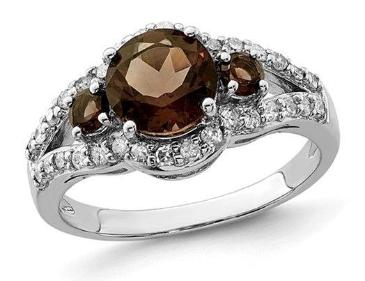 1.45 Carat (ctw) Smokey Quartz Three Stone Ring in Sterling Silver with Diamonds