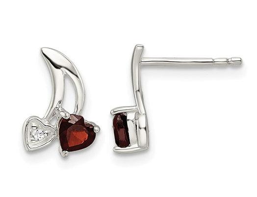 Sterling Silver Heart Garnet Earrings 3/10 Carats (ctw)