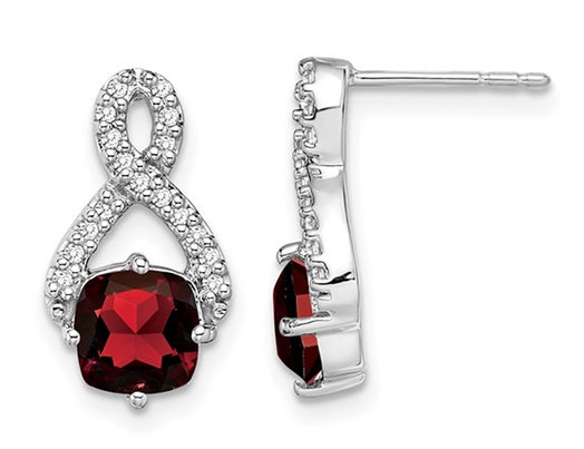 14K White Gold Infnity Garnet Earrings 2.50 Carat (ctw) with Diamonds