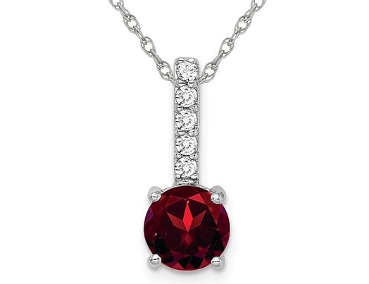 1.25 Carat (ctw) Garnet Pendant Necklace in 14K White Gold with Diamonds