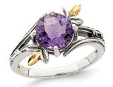 1.75 Carat (ctw) Amethyst Ring in Sterling Silver with 14K Leaves